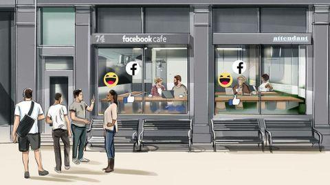 Skiss på Facebooks kafé i London
