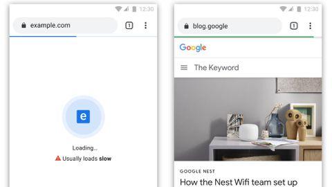 Långsam respektive snabb sajt i Chrome