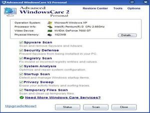 Gratis nedladdning av Advanced SystemCare / WindowsCare - städa datorn