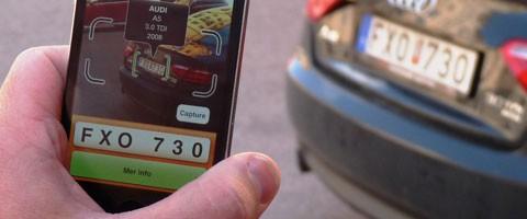 Med Infotorgs nyutvecklade app kan du få reda på massor om en bil bara genom att ta kort på registreringsskylten.