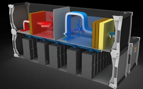 MDC:s kylarmodul använder temperaturen utifrån för att kyla servrarna.
