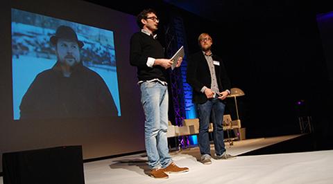 Daniel Goldberg och Linus Larsson talade om spelsuccén Minecraft och dess grundare Markus Persson.