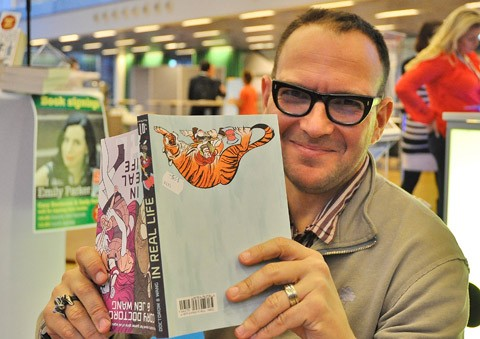 Cory Doctorow på Internetdagarna i Stockholm, foto: Jonas Ryberg.