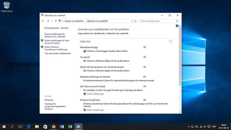 Windows 10 säkerhetsmeny