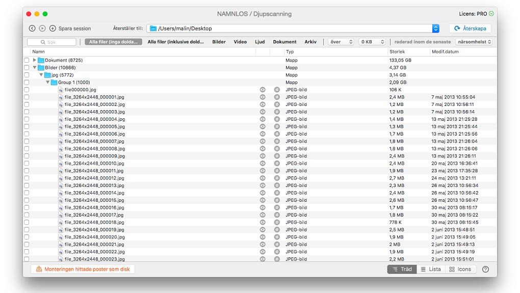Lista på filer som kan återskapas.