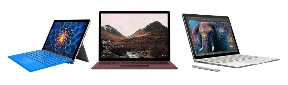 Surface Pro 4, Surface Laptop och Surface Book