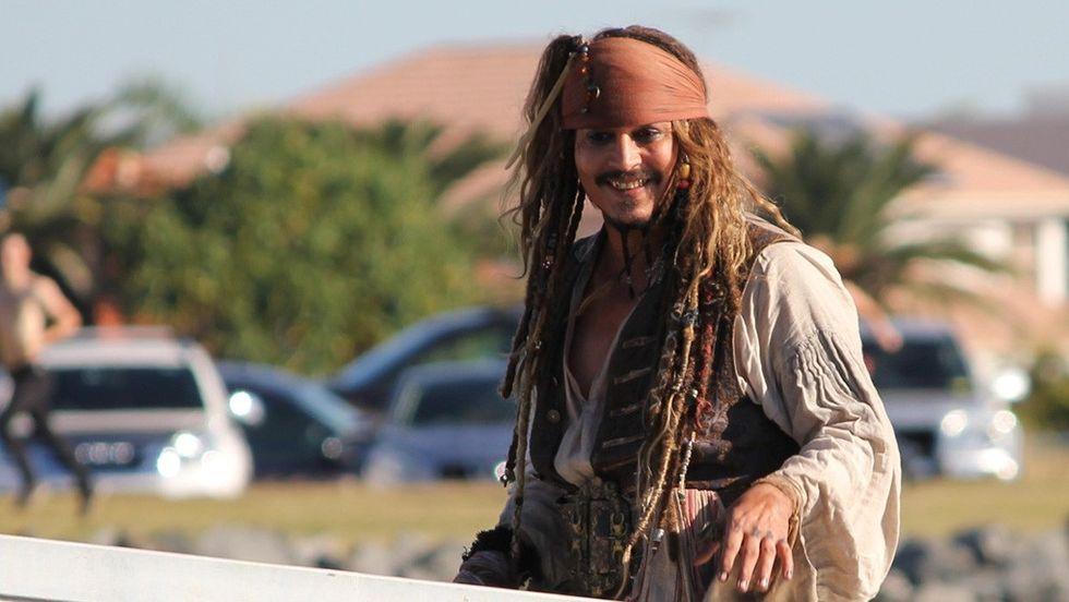 Johnny Depp vid inspelningen av senaste Pirates-filmen