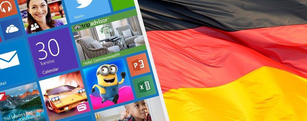 Windows 10, tysk flagga