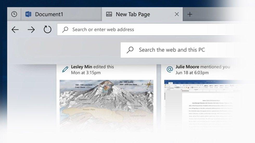 Skärmdump: flikar i Windows