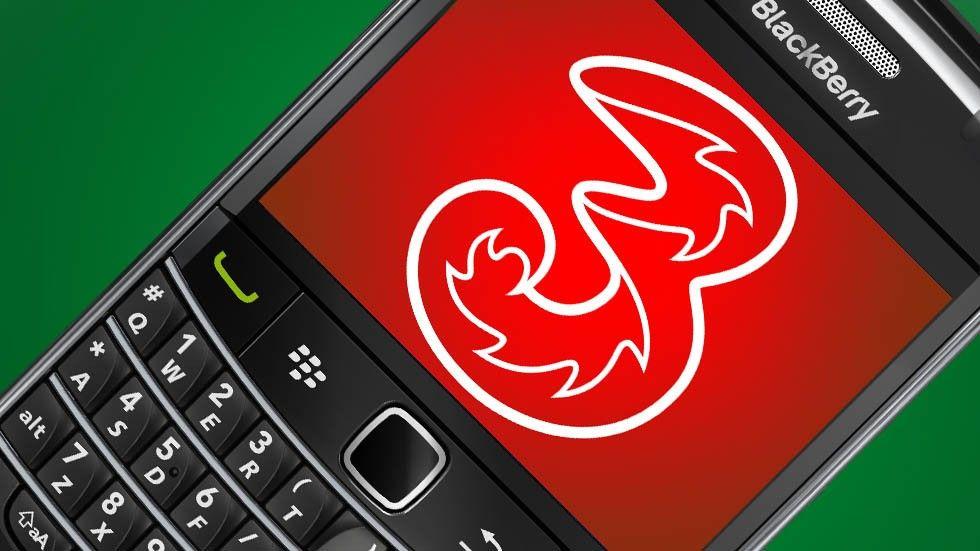 Tre-logo i Blackberry-mobil