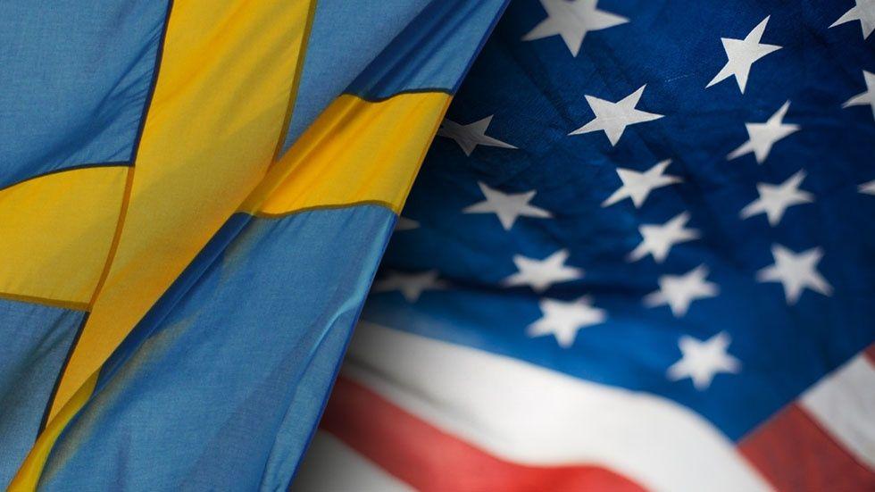 Svensk och amerikansk flagga