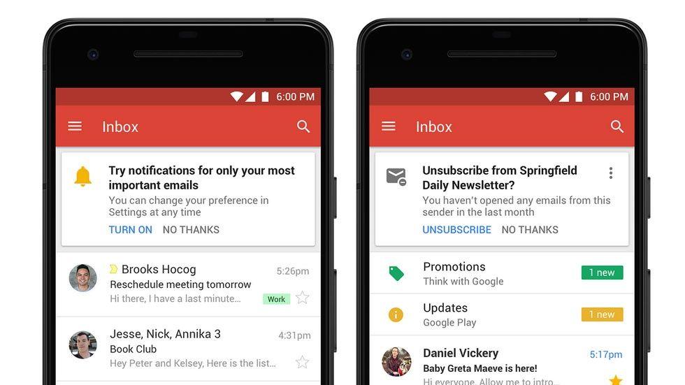 Gmail i mobilen.
