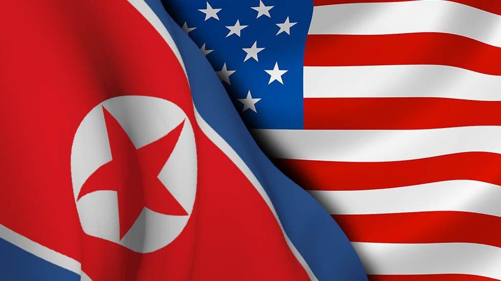 Flaggor: Nordkorea och USA