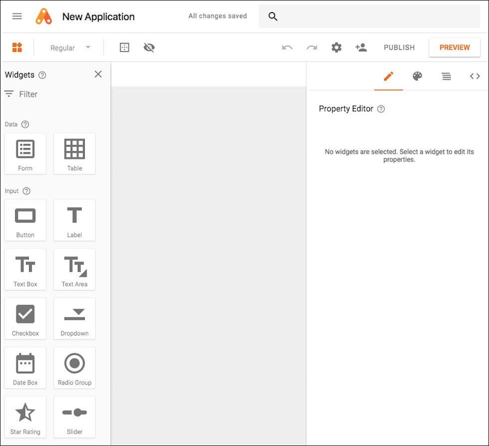 Skärmdump: Google App Maker