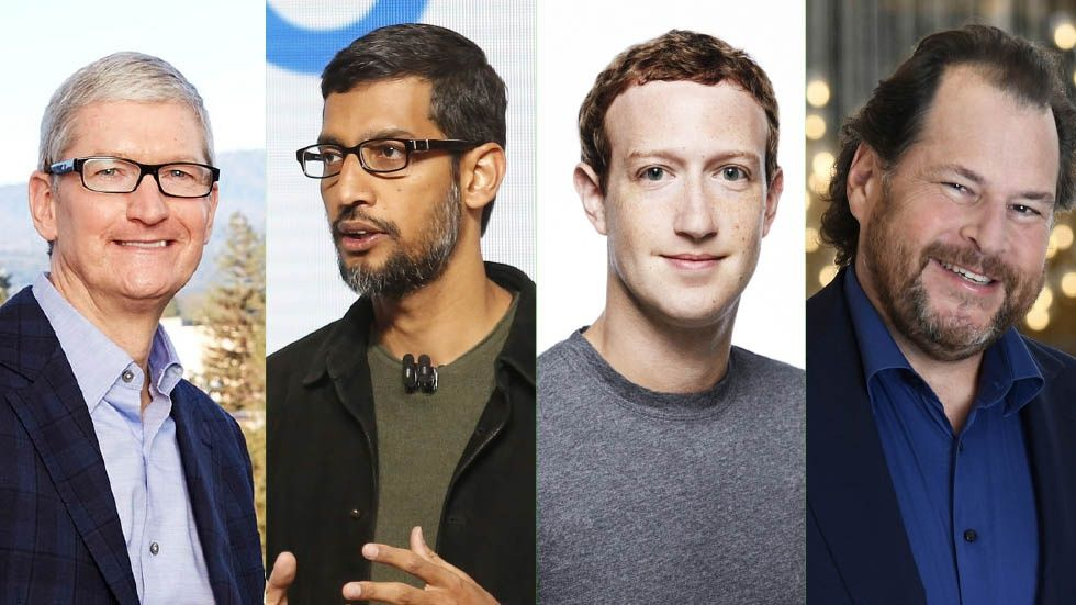 Tim Cook, Sundar Pichai, Mark Zuckerberg, Marc Benioff