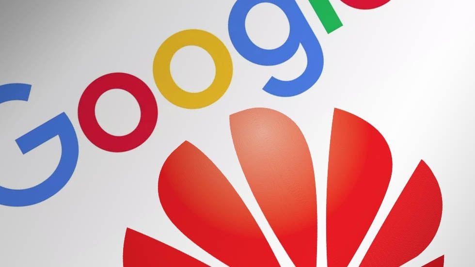 Googles och Huaweis logotyper