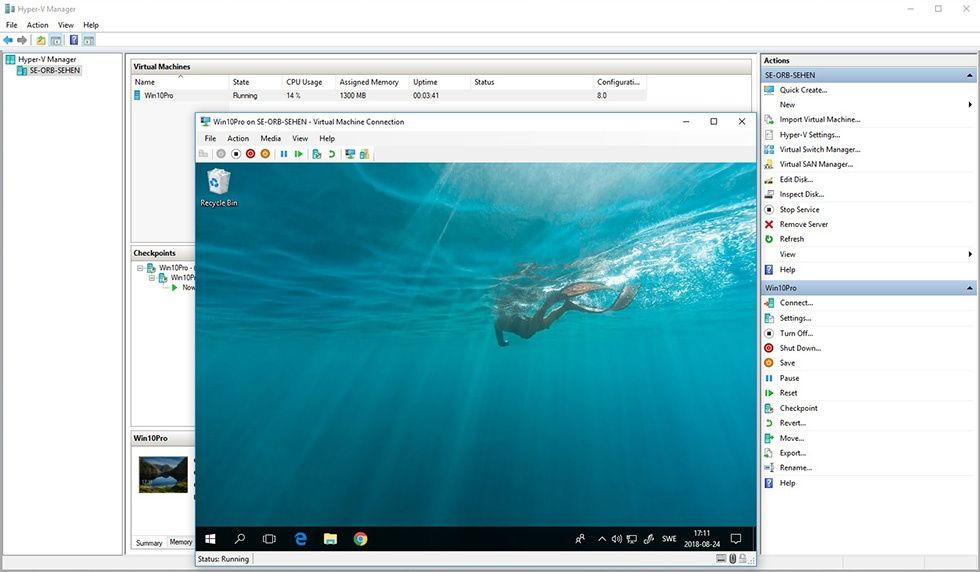 Skärmbild: Hyper-V i Windows 10.