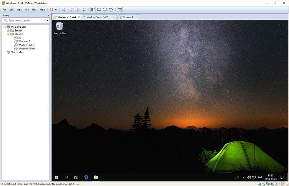 Skärmbild: VMware Workstation