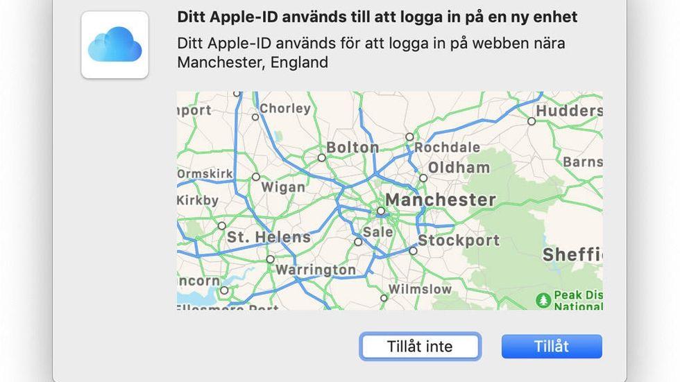 Apples dialogruta för tvåfaktorautentisering