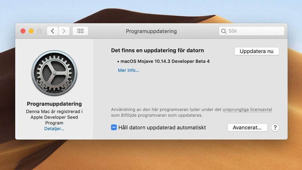 Beta-uppdatering av Mac OS Mojave