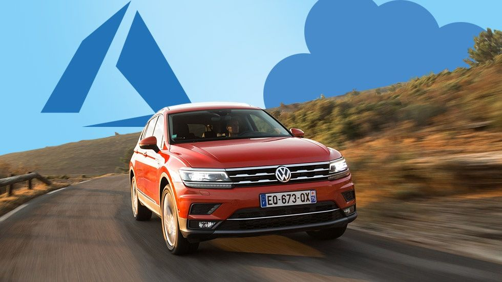 VW-bil och Azure-logotyp