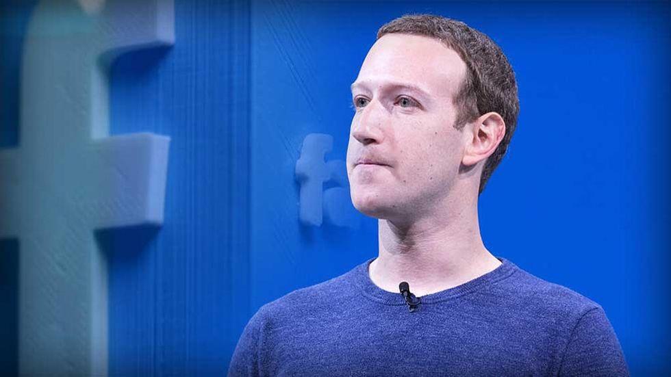 Mark Zuckerberg och Facebook-logga i 3d