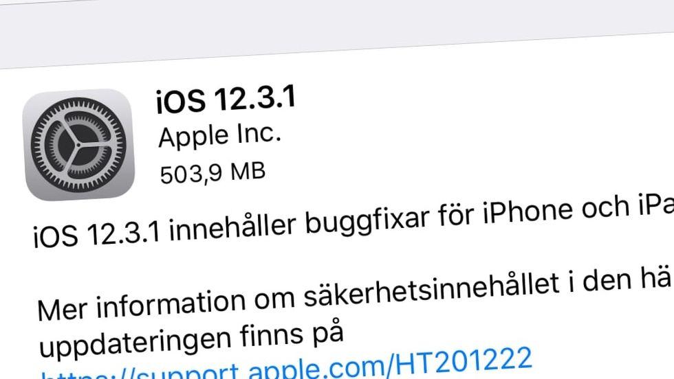 IOS 12.3.1 uppdatering släppt