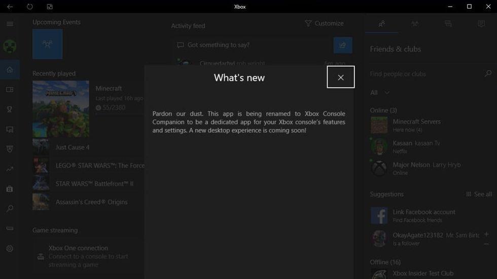 Meddelande om nytt namn i Xbox-appen