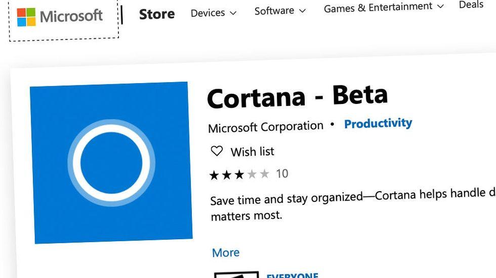 Cortana-beta på Microsoft Store
