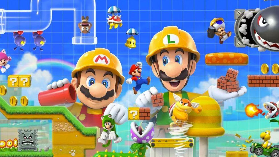 Mario and Luigi in Mario Maker 2