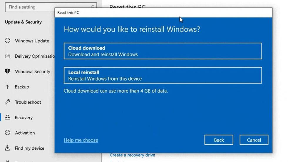 Återställ Windows 10 från molnet