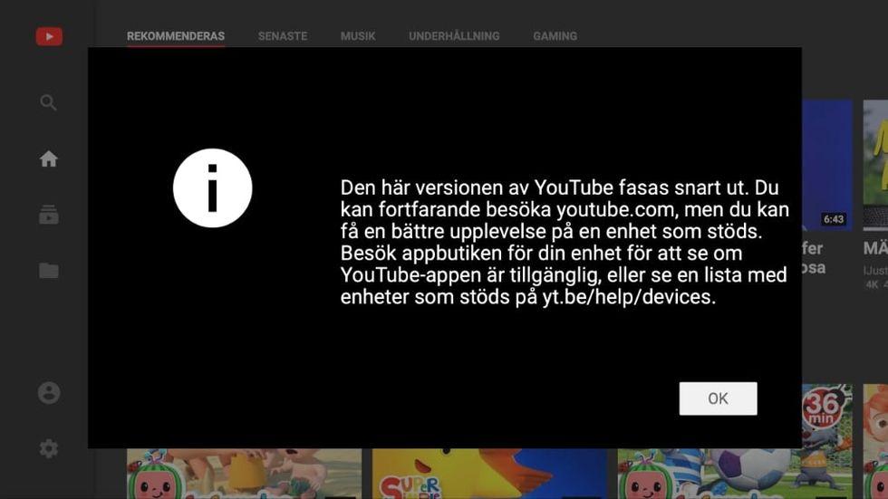 Youtube Leanback stängs
