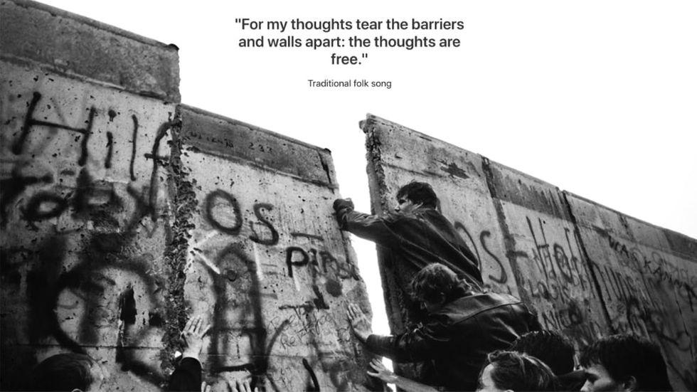 Apple uppmärksammar Berlinmurens fall