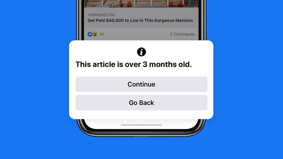 Facebook varnar för gammal artikel