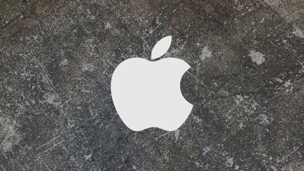 Apple-logga på betong