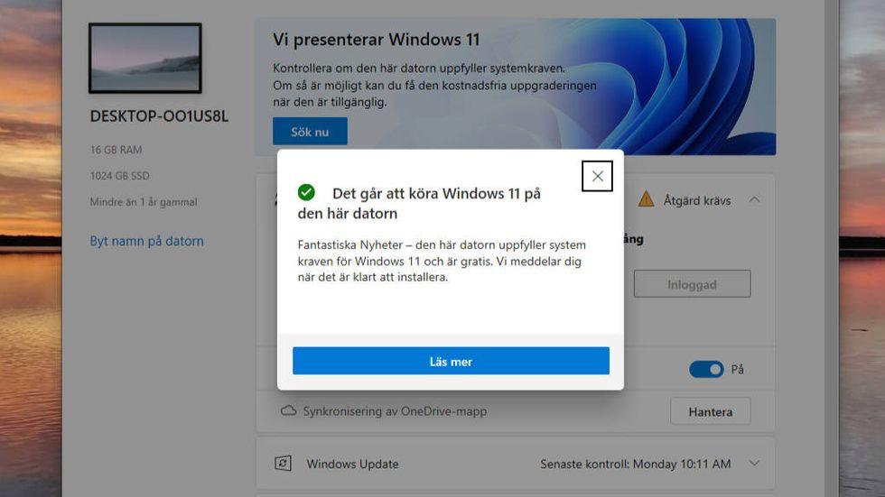 Kontrollera om du kan uppdatera till Windows 11