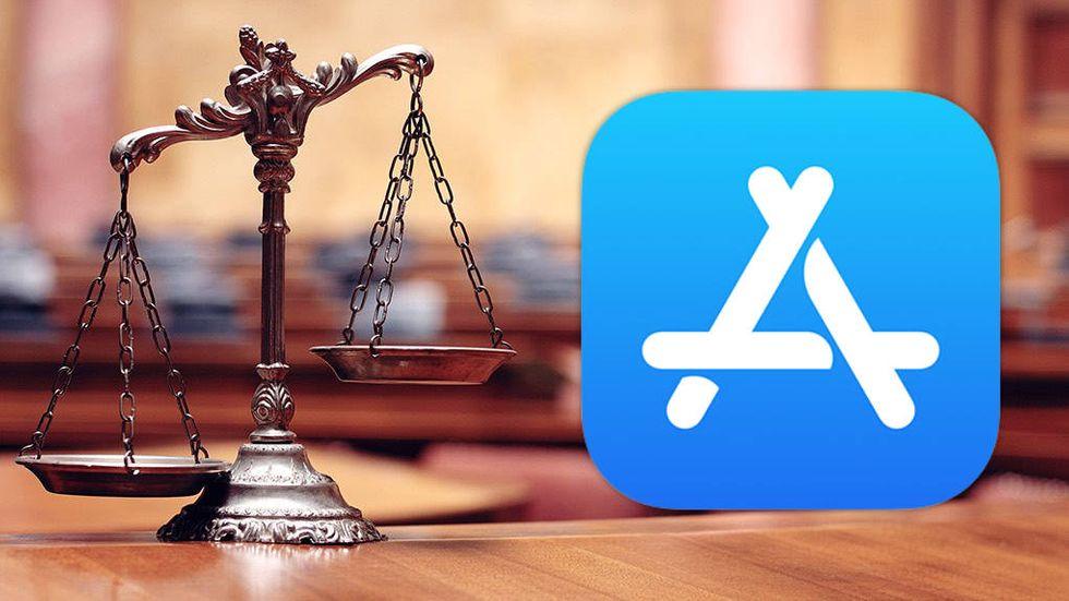 App Store-logga och vågskålar i domstol