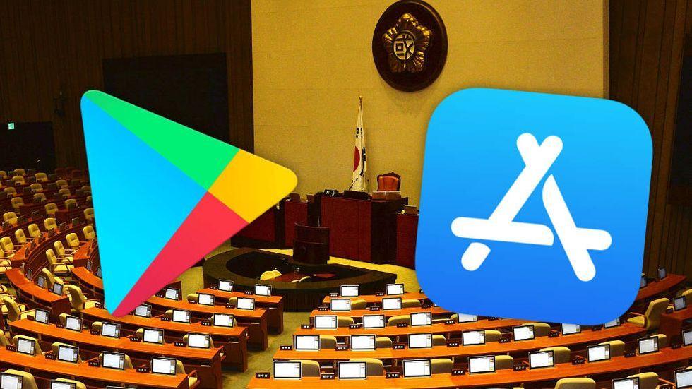Ikonerna för Google Play och App Store. Sydkoreas nationalförsamling i bakgrunden.