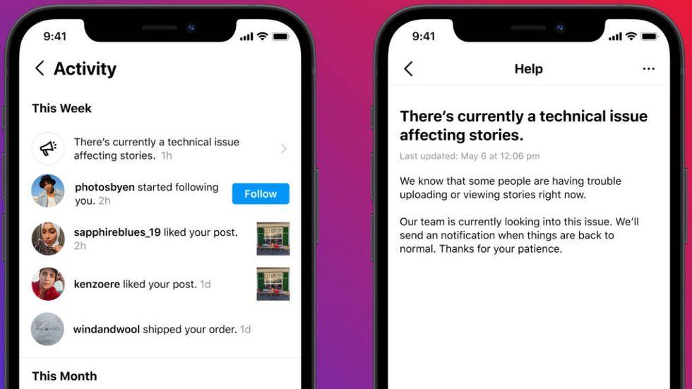 Notiser om driftstörningar på Instagram