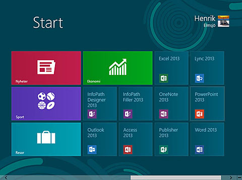 Efter installationen dyker ikonerna f�r Office 2013 upp p� Startsk�rmen i Windows 8.